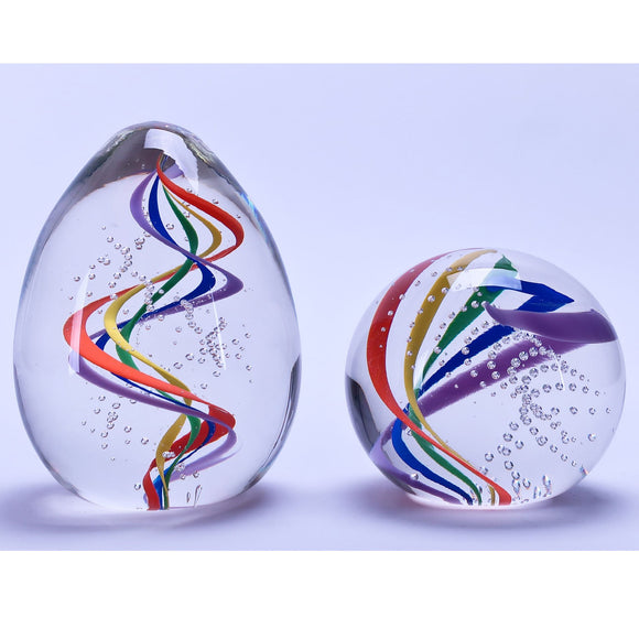 Grateful Gathers Glass By Danny Polk Jr Cane Helix Egg Shaped and Round Paperweights Artisan Crafted Hand Blown American Art Glass