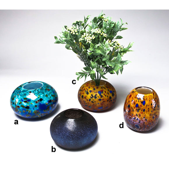 Grateful Gathers Glass By Danny Polk Jr Glossy and Frosted Ikebana Vases Artisan Crafted Hand Blown American Art Glass