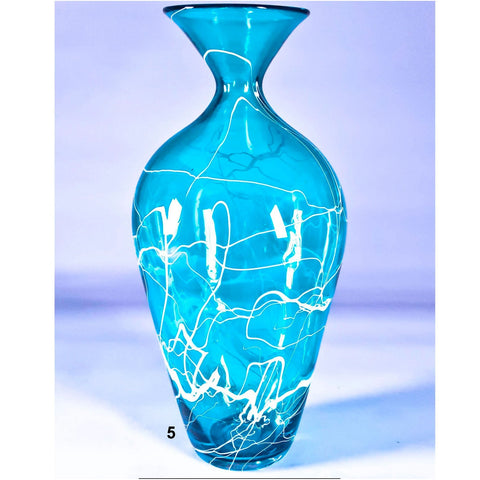 Grateful Gathers Glass By Danny Polk Jr Medium Lightning Vase in Blue 5 Artisan Crafted Hand Blown American Art