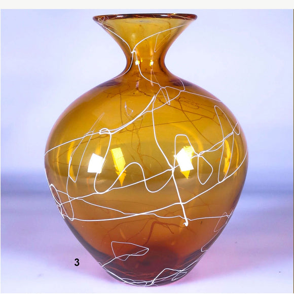 Grateful Gathers Glass By Danny Polk Jr Medium Lightning Vase in Gold 3 Artisan Crafted Hand Blown American Art