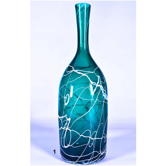 Grateful Gathers Glass By Danny Polk Jr Medium Lightning Vase in Green 1 Artisan Crafted Hand Blown American Art Glass