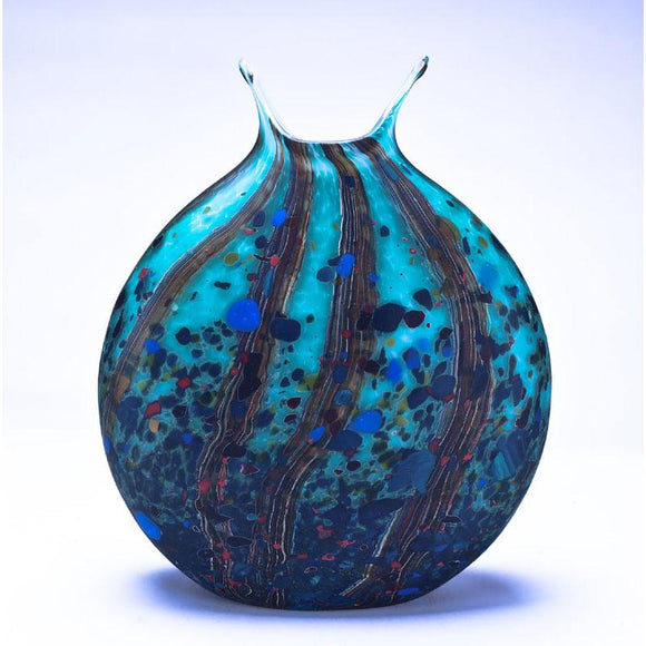 Grateful Gathers Glass By Danny Polk Jr Reactive Series Flat Vase in Ocean Forest with Matte Finish Artisan Crafted Hand Blown American Art Glass