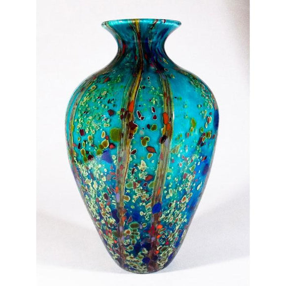Grateful Gathers Glass By Danny Polk Jr Reactive Series Ocean Forest Glossy Amphora Vase Artisan Crafted Hand Blown American Art Glass