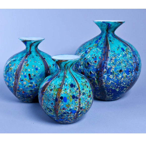 Grateful Gathers Glass By Danny Polk Jr Reactive Series Small Medium and Large Glossy Ocean Forest Jug Vases Artisan Crafted Hand Blown American Art Glass
