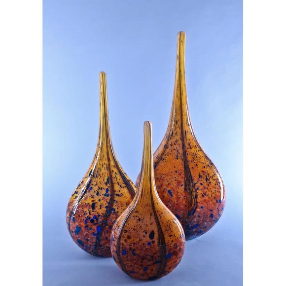 Grateful Gathers Glass By Danny Polk Jr Reactive Series Small Medium and Large Glossy Wild Honey Mandolin Vases Artisan Crafted Hand Blown American Art Glass