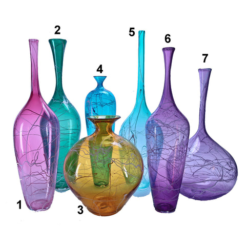 Grateful Gathers Glass By Danny Polk Jr Large Lightning Vases Artisan Crafted Hand Blown American Art Glass