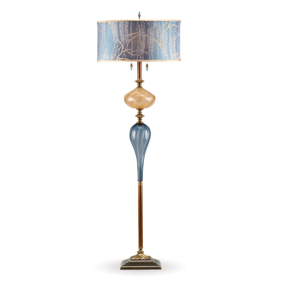 Kinzig Design Grayson Floor Lamp F 150 AG 132 Colors Blue Gray And Gold Blown Glass Base With Light And Dark Blue Gray Shade Artistic Artisan Designer Floor Lamps