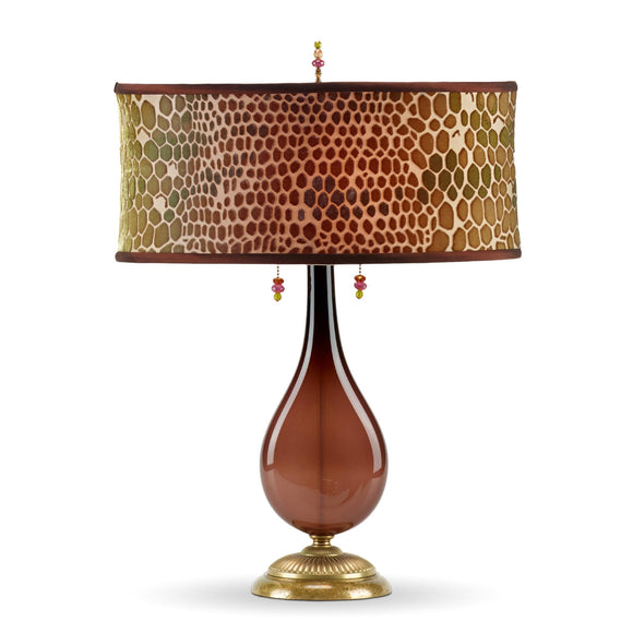 Hazel Table Lamp 143Aj127, Kinzig Design, Colors Brown and Green Blown Glass, Silk Shade, Artistic Artisan Designer Table Lamps
