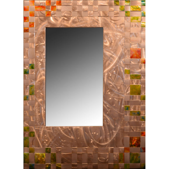 Heffernan Art Mirror Blossoms Galore Artistic Handwoven and Painted Copper Mirrors