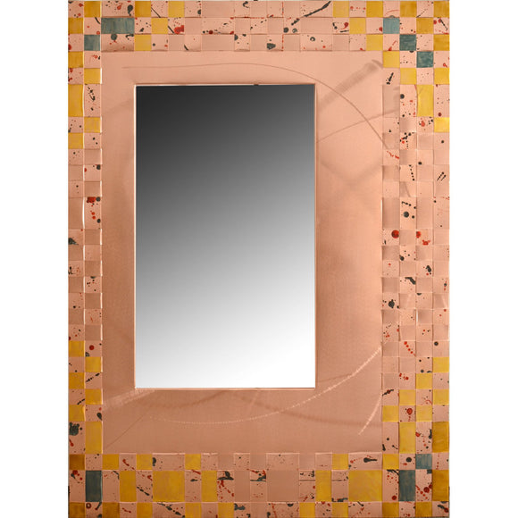 Heffernan Art Mirror Cornflowers Artistic Handwoven and Painted Copper Mirrors