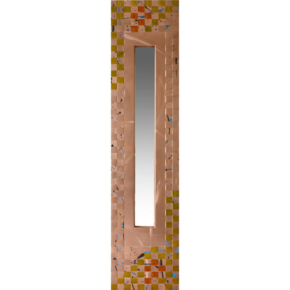 Heffernan Art Mirror Orange Blossom Artistic Handwoven and Painted Copper Mirrors