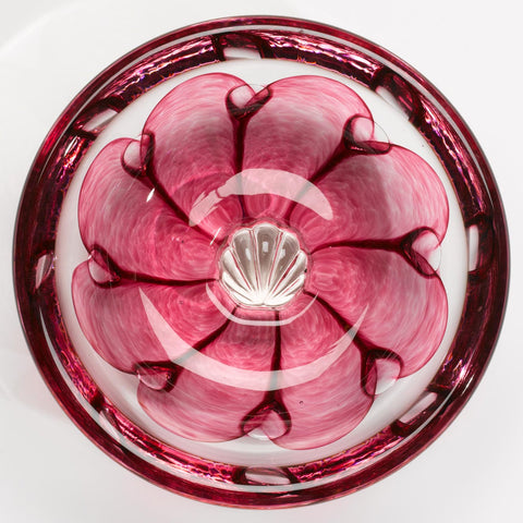 Hot Glass Alley Jake Pfeifer Shell Swedish Pink Bowl Artistic Handblown Glass Artistic Handblown Glass