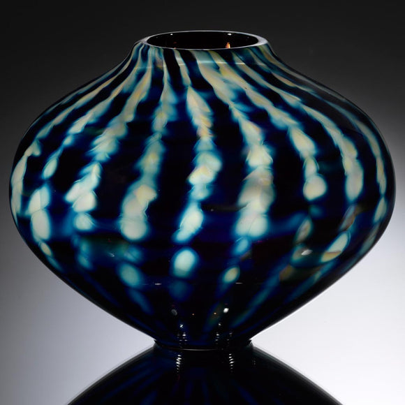 Hot Glass Alley Jake Pfeifer Treasure Chubby Optic Stripe Vase Artistic Handblown Glass