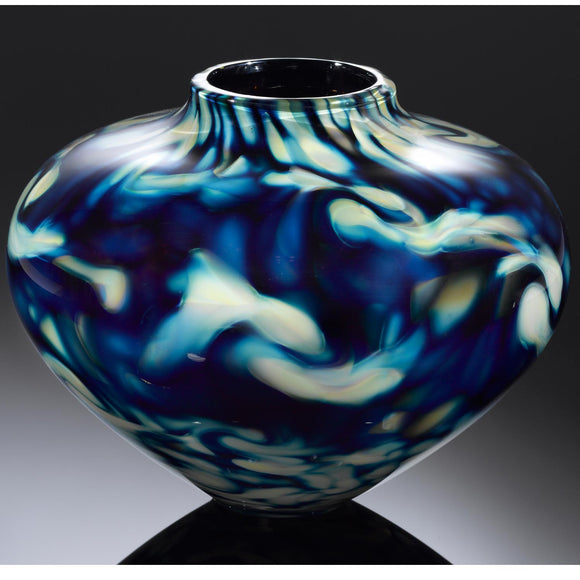 Hot Glass Alley Jake Pfeifer Treasure Chubby Pinch and Twist Vase Artistic Handblown Glass