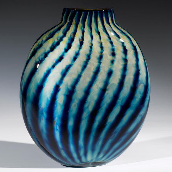 Hot Glass Alley Jake Pfeifer Treasure Pill Optic Stripe Vase Artistic Handblown Glass