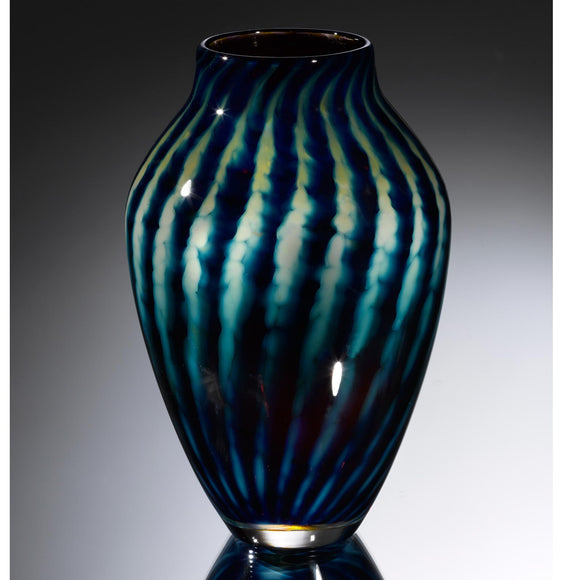 Hot Glass Alley Jake Pfeifer Treasure Reverse Amphora Optic Stripe Vase Artistic Handblown Glass