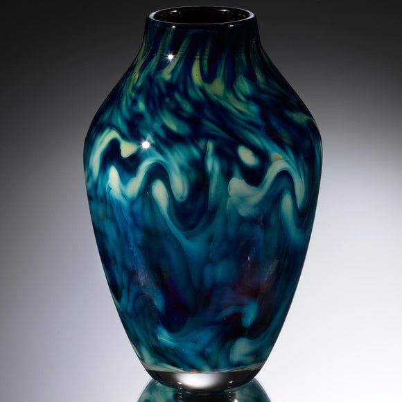 Hot Glass Alley Jake Pfeifer Treasure Reverse Amphora Pinch and Twist Vase Artistic Handblown Glass