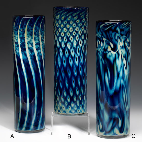 Hot Glass Alley Jake Pfeifer Treasure Series Straight Sided Vases Artistic Handblown Glass