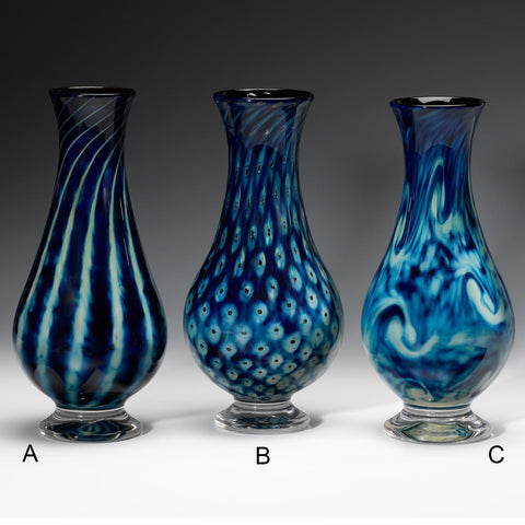 Hot Glass Alley Jake Pfeifer Treasure Teardrop Footed Vases Artistic Handblown Glass