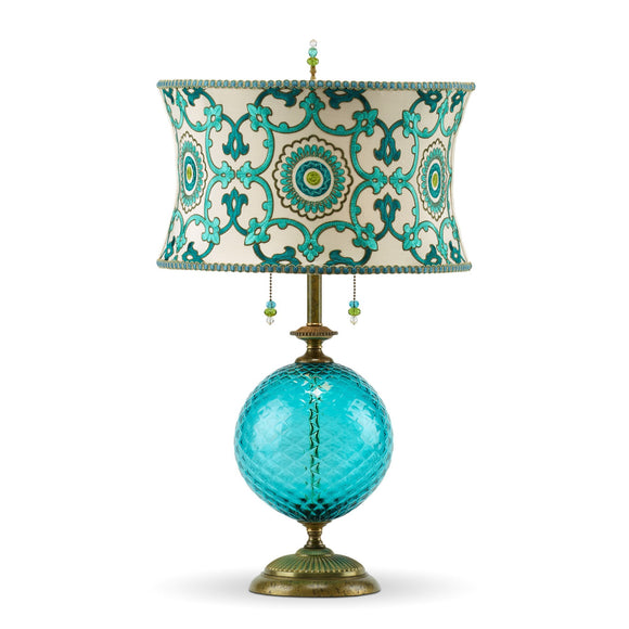 Kinzig Design Ingrid Table Lamp 129 K 117 Colors Turquoise Blown Glass Base With Embroidered Silk Shade In Turquoise And Green Artistic Artisan Designer Table Lamps