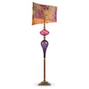 Kinzig Design Iyad Floor Lamp F163 AO 141 Colors Purple And Rose Blown Glass Base With Embroidered Purple Raspberry Green Gold And Copper Linen Shade Artistic Artisan Designer Floor Lamps