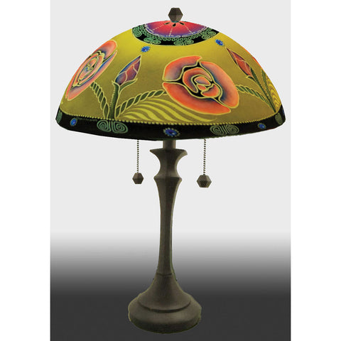 Arts and Crafts Reverse Hand Painted Glass Table Lamp by Jamie Barthel