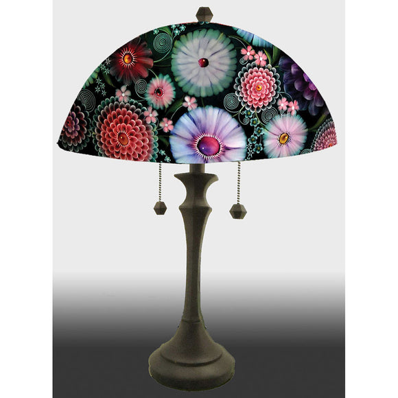 Jamie Barthel Dark Florals Reverse Hand Painted Glass Table Lamp, Contemporary Glass Lamps