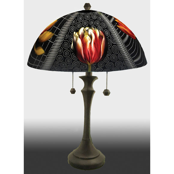Jamie Barthel Deco Tulips Reverse Hand Painted Glass Table Lamp, Contemporary Glass Lamps