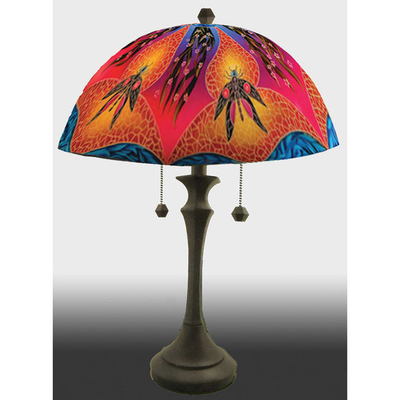 Jamie Barthel Dragonfly Blues Reverse Hand Painted Glass Table Lamp, Contemporary Glass Lamps