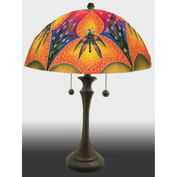 Jamie Barthel Dragonfly Greens Reverse Hand Painted Glass Table Lamp, Contemporary Glass Lamps
