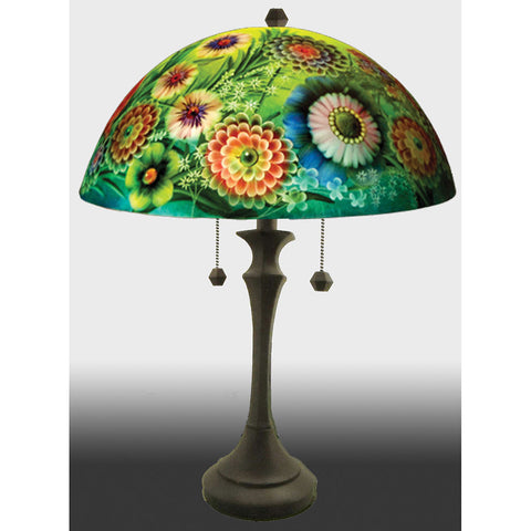 Jamie Barthel Full Blooms Reverse Hand Painted Glass Table Lamp, Contemporary Glass Lamps