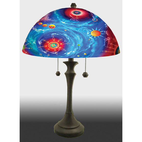 Jamie Barthel Galaxys Reverse Hand Painted Glass Table Lamp, Contemporary Glass Lamps