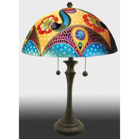 Jamie Barthel Hali Reverse Hand Painted Glass Lamp, Contemporary Glass Lamps