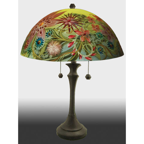 Jamie Barthel Le Jardins Reverse Hand Painted Glass Table Lamp, Contemporary Glass Lamps