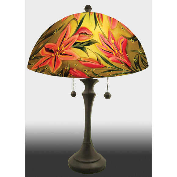 Jamie Barthel Lovely Lily Reverse Hand Painted Glass Table Lamp, Contemporary Glass Lamps