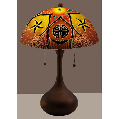 Jamie Barthel Lucky Reverse Hand Painted Glass Table Lamp, Contemporary Glass Lamps