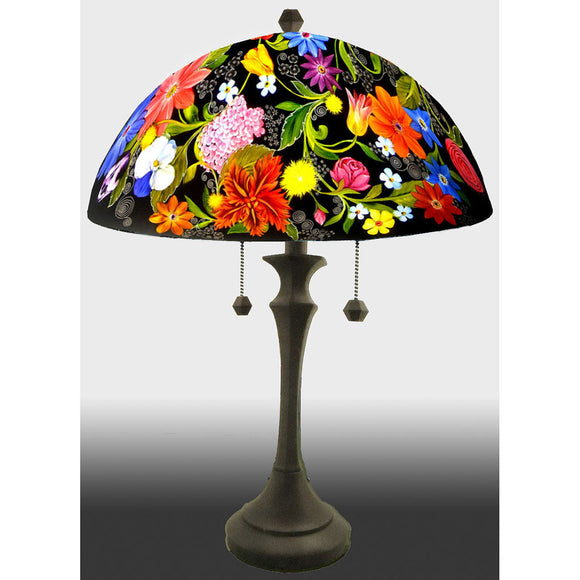 Jamie Barthel Midnight Garden Reverse Hand Painted Glass Table Lamp, Contemporary Glass Lamps