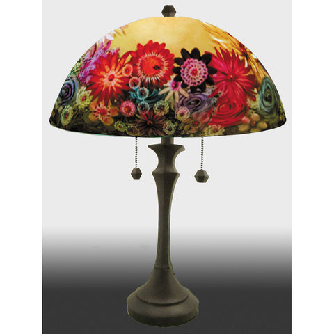 Jamie Barthel Rose Garden Reverse Hand Painted Glass Table Lamp, Contemporary Glass Lamps
