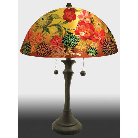 Jamie Barthel Spring Bouquet Reverse Hand Painted Glass Table Lamp, Contemporary Glass Lamps