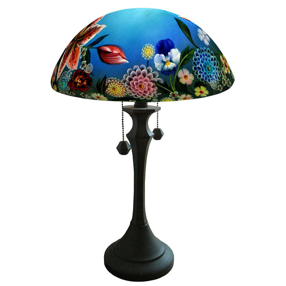Jamie Barthel Summer Bouquet Reverse Hand Painted Glass Table Lamp, Contemporary Glass Lamps