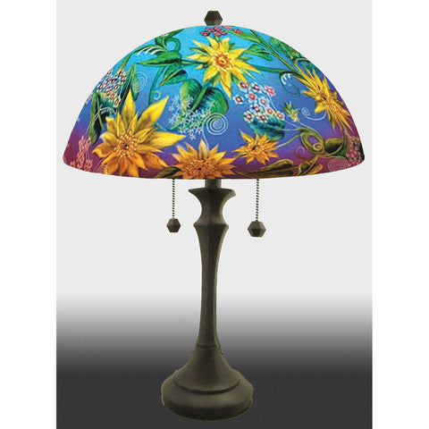 Jamie Barthel Sunflowers Reverse Hand Painted Glass Table Lamp, Contemporary Glass Lamps