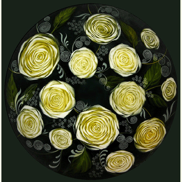 Jamie Barthel White Roses Reverse Hand Painted Glass Chandelier, Contemporary Chandeliers