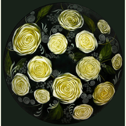 White Roses Reverse Hand Painted Glass Chandelier by Jamie Barthel