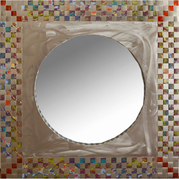 Jean and Tom Heffernan Art Mirrors Circle in a Square Artistic Handwoven Steel Mirrors