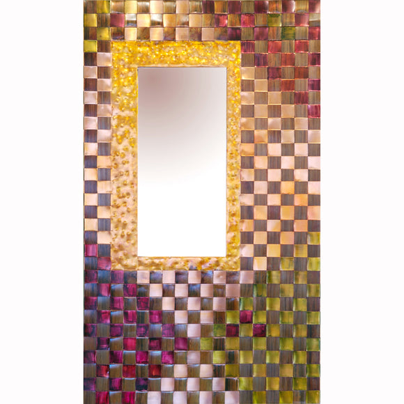 Jean and Tom Heffernan Art Mirrors Geometric Progression, Artistic Handwoven Copper Mirrors