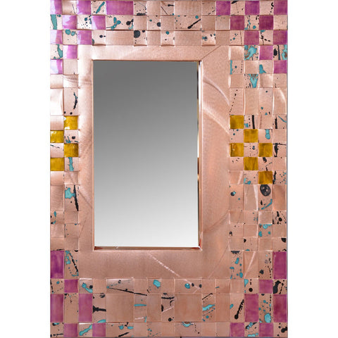 Jean and Tom Heffernan Art Mirrors Harvest Time Artistic Handwoven Copper Mirrors