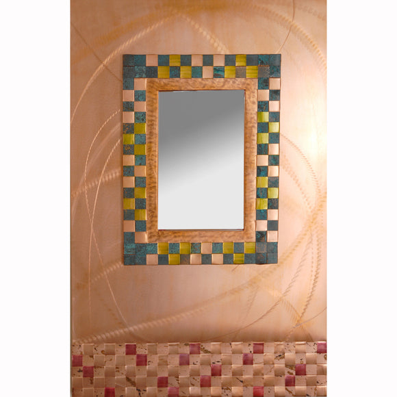 Jean and Tom Heffernan Art Mirrors Spirals, Artistic Handwoven Copper Mirrors