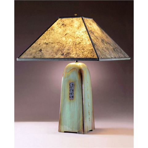 Four Sided Celadon Glaze Table Lamp North Union Collection with Silver Mica Shade by Jim Webb