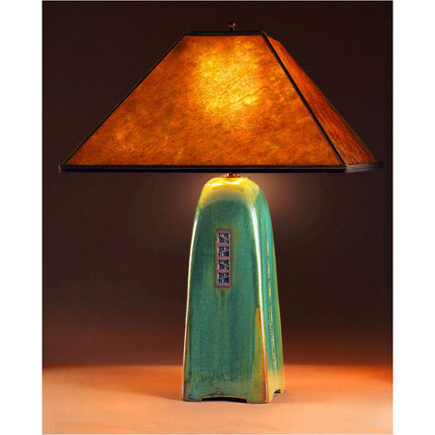 Four Sided Moss Glaze Table Lamp North Union Collection With Amber Mica  Shade By Jim Webb