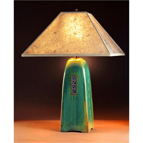 Superior Four Sided Moss Glaze Table Lamp North Union Collection With Silver Mica  Shade By Jim Webb